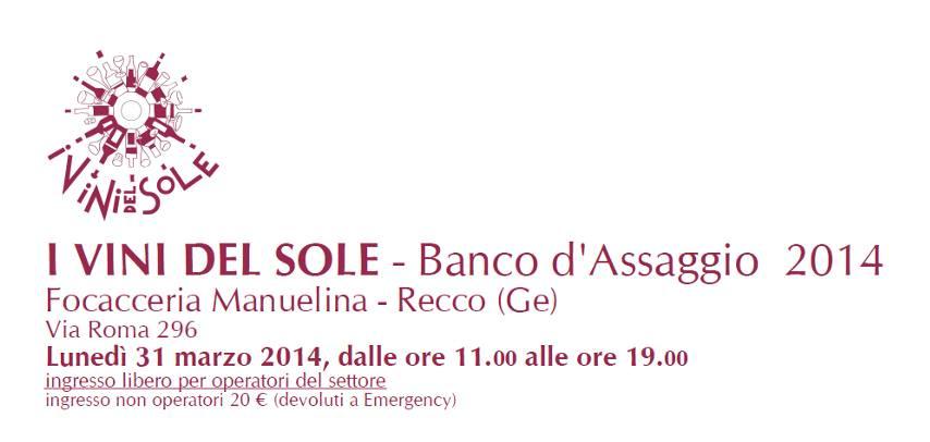 """Maso Martis incontra la Liguria: il 31 marzo saremo al Banco d'Assaggio 2014 de """"I Vini del Sole"""""""